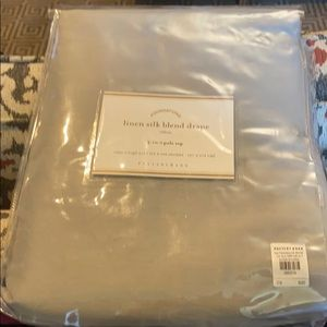Pottery Barn Accents - Set of four grey linen silk blend drapes.